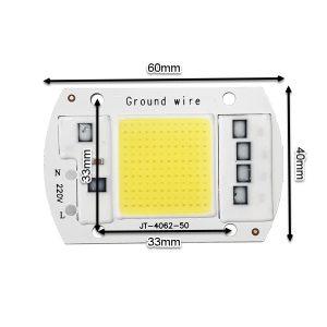 ابعاد LED COB مهتابی 50W 220V با درایور داخلی