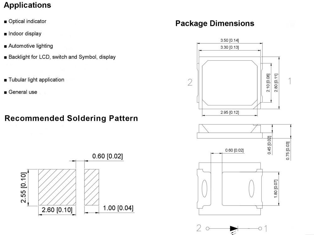 SMD LED پکیج 2835 سفید مهتابی بسته 50 تایی