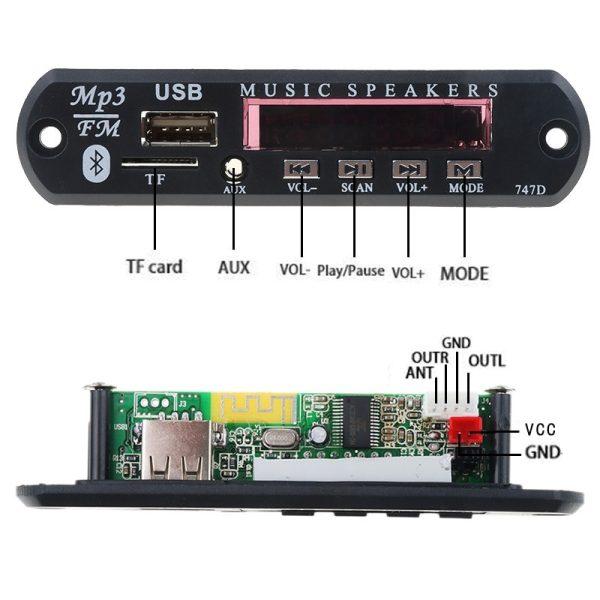 پخش کننده بلوتوثی 12V - پنلی MP3 پشتیبانی از MicroSD و USB با ریموت کنترل