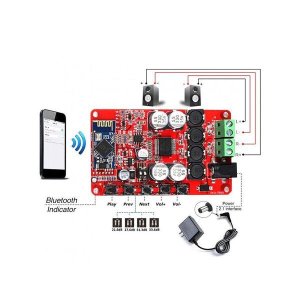 ماژول آمپلی فایر TDA7492 به همراه بلوتوث صوتی