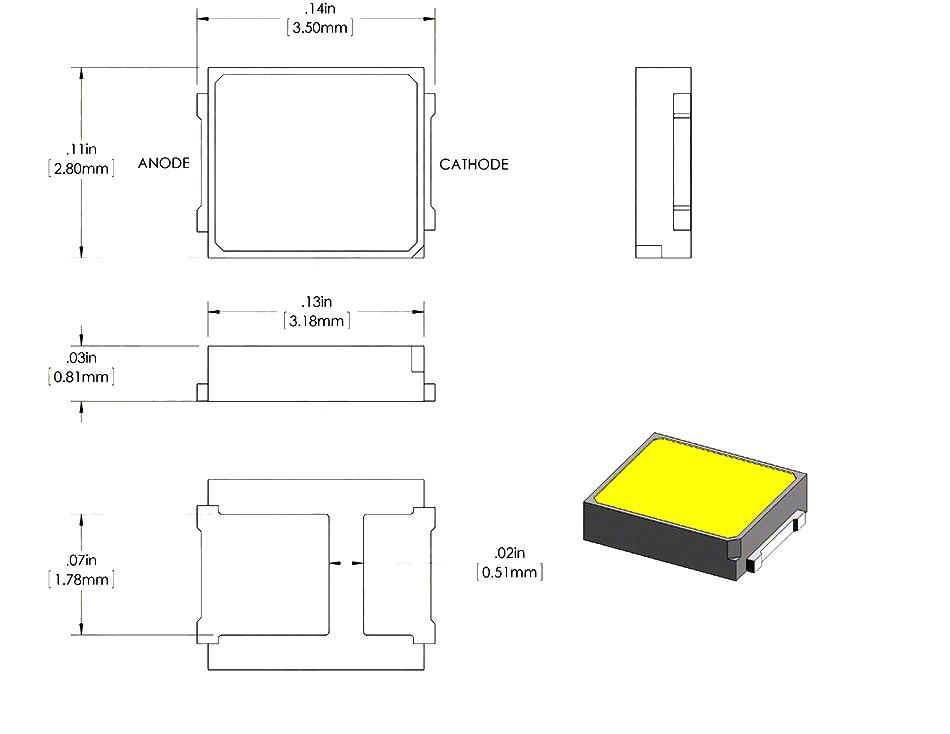شماتیک SMD LED پکیج 2835 سفید آفتابی بسته 50 تایی