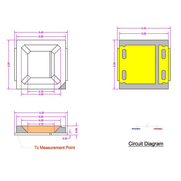 LED سفید مهتابی SMD پکیج 5054 بسته 50 تایی