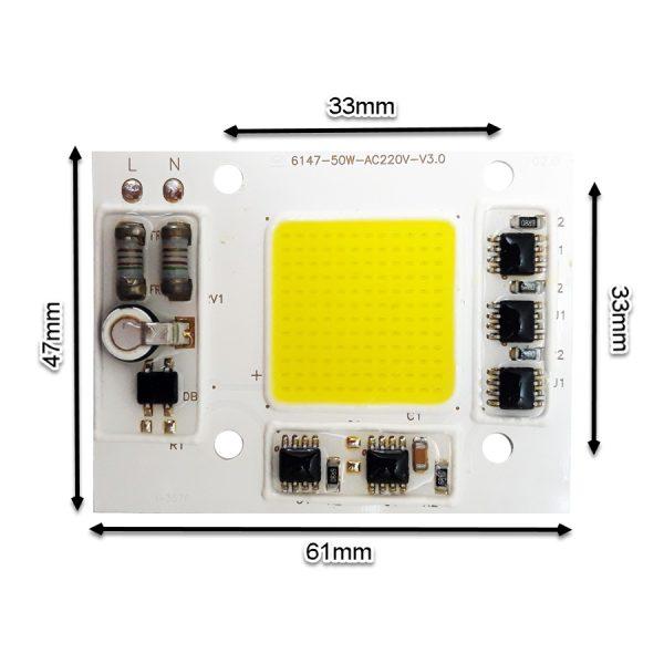 LED COB مهتابی 50W 220V با درایور داخلی - 6147F