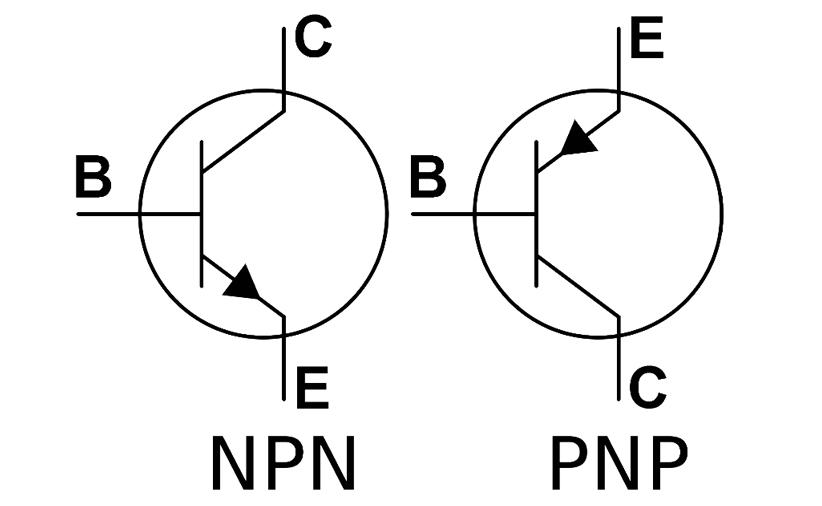 نماد مداری ترانزیستورهای NPN و PNP