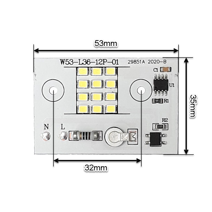 ابعاد ال ای دی پروژکتوری SMD 10W 220V سفید مهتابی