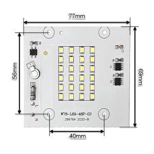 ابعاد ال ای دی پروژکتوری SMD 20W 220V سفید مهتابی