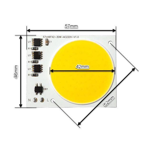ابعاد ال ای دی COB آفتابی 30W 220V با درایور داخلی 57X46 میلیمتر
