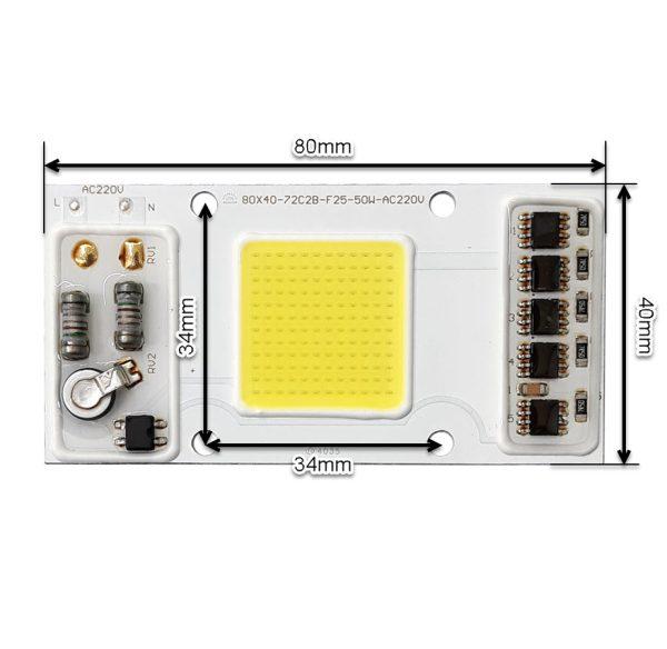 LED COB مهتابی 50W 220V با درایور داخلی - 72C2B