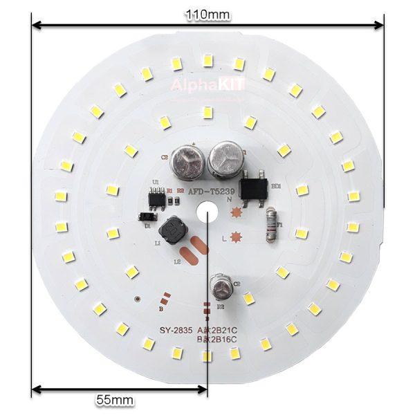 ابعاد ال ای دی 50 وات 220 ولت گرد سفید مهتابی قطر 110 میلیمتر