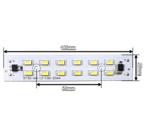 ابعاد ال ای دی 6 وات 220 ولت سفید مهتابی سایز 100 میلیمتر