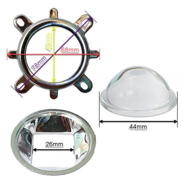 لنز محدب شیشه ایی پروژکتور ال ای دی به همراه رفلکتور و هولدر سوراخ دار قطر ۴۴ میلیمتر
