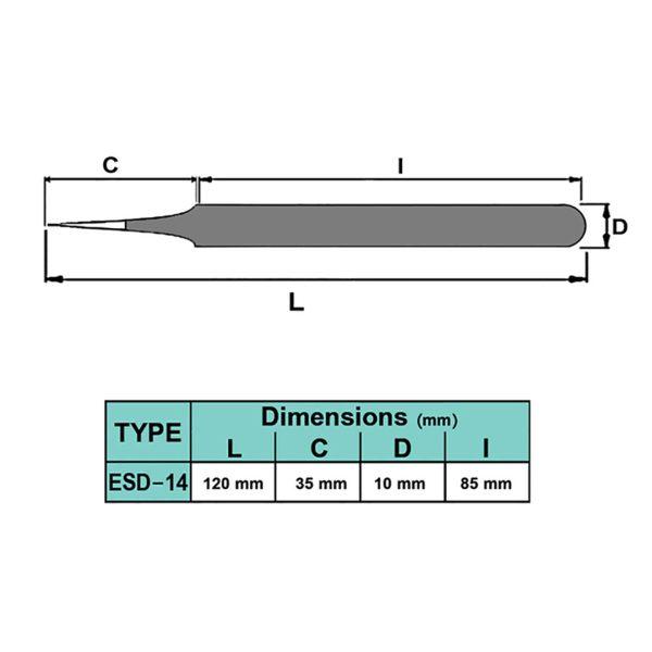 پنس نوک تیز آنتی استاتیک برند DTEC مدل ESD-14