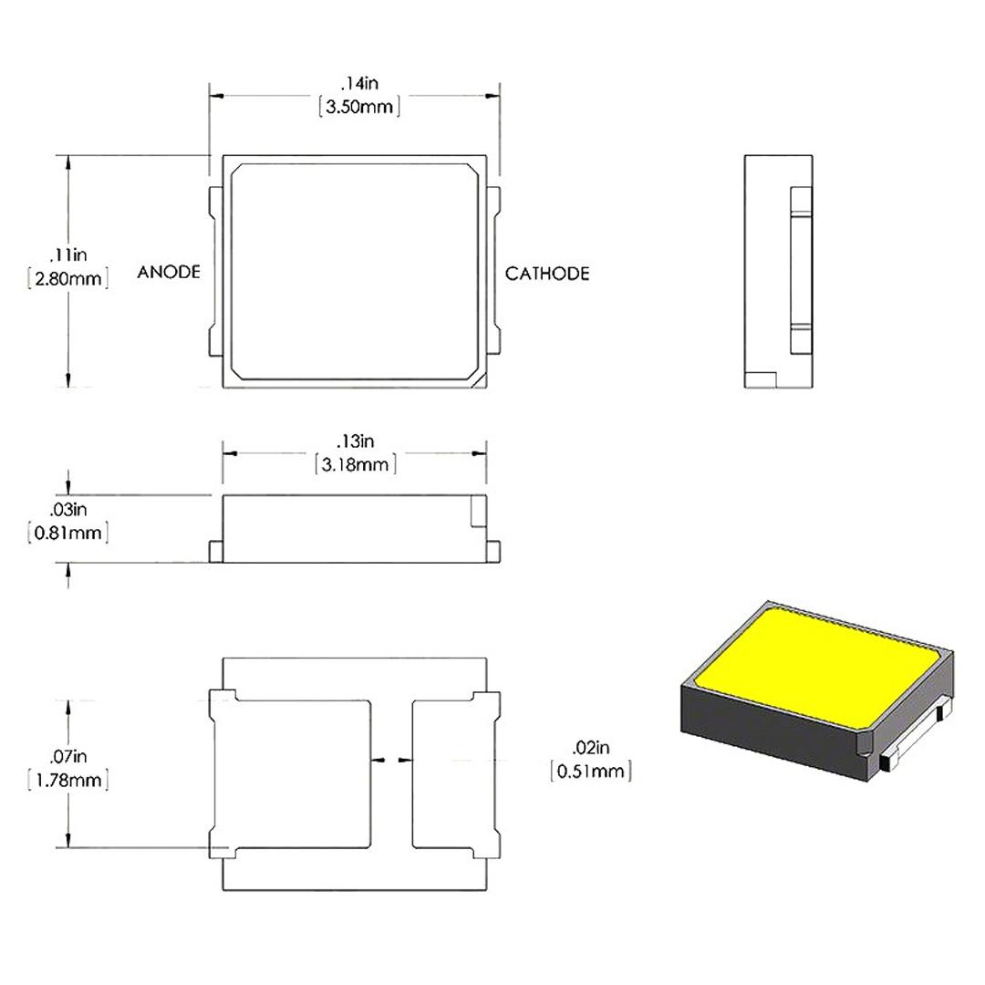 SMD LED پکیج 2835 سفید مهتابی 18V 0.5W مارک MLS بسته 20 تایی