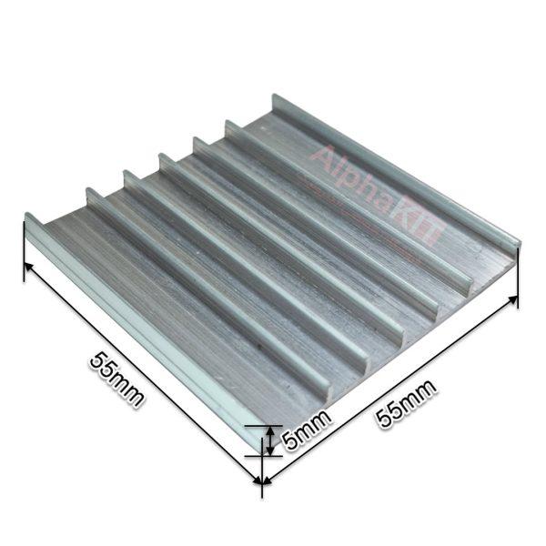 ابعاد هیت سینک شانه ای آلومینیومی 55X55X5 میلیمتر