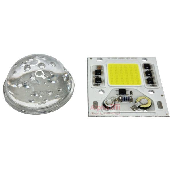 لنز محدب پروژکتور ال ای دی شیشه ای بی رنگ قطر 50 میلیمتر