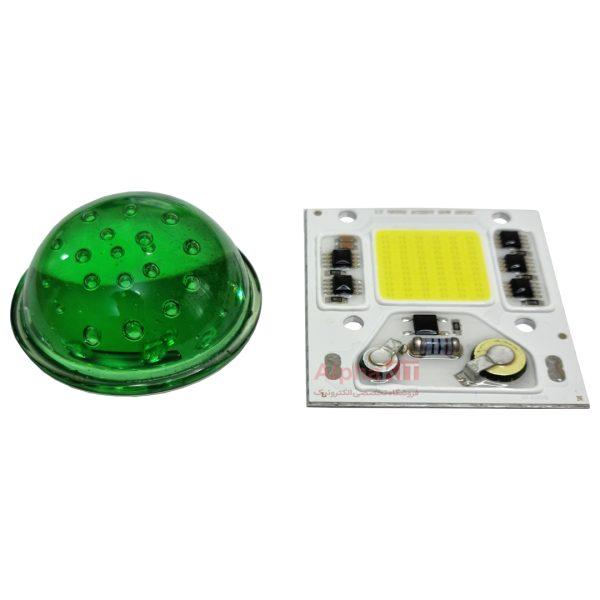 لنز محدب پروژکتور ال ای دی شیشه ای سبز قطر 50 میلیمتر